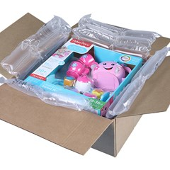 Supertube inflatable packaging being used to secure toys in a box.