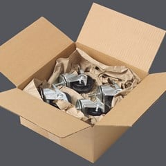 Paper packaging used to ship parts with the void fill packing method.